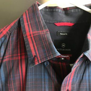 Victorinox Tailored Fit Red Plaid Button Down